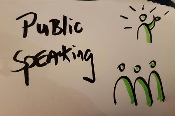 public speaking hand written sign